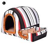 AUTOECHO - Parque de Juegos para Mascotas Premium con caseta cilíndrica para Perro Desmontable y Lavable de Doble Uso, caseta de Arco, para Perros y Mascotas, Black Red Strips, Large