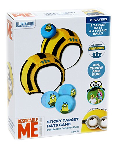 Image of Despicable Me Minions Sticky Target Hats Game Outdoor Indoor Soft 2 Player Childrens Kids Game