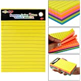 Hengjie Self-Stick Sticky Note Pad, Ruled, Neon Colors, 6 X 4 inch, 100 Sheets