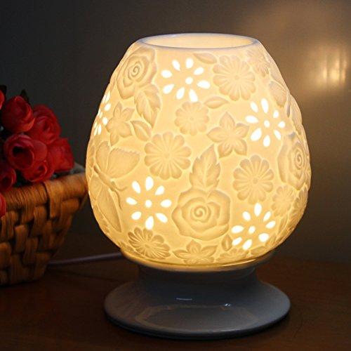 YIXIN Lampe aromatique / humidificateur d'air Matériau en céramique (1300 degrés de tir à haute température en céramique, gradateur rotatif, lumière de nuit, coquille en céramique perméable à la lumière) - Blanc-25ML Capacité -12 * 16.5cm ( Couleur : 3 )