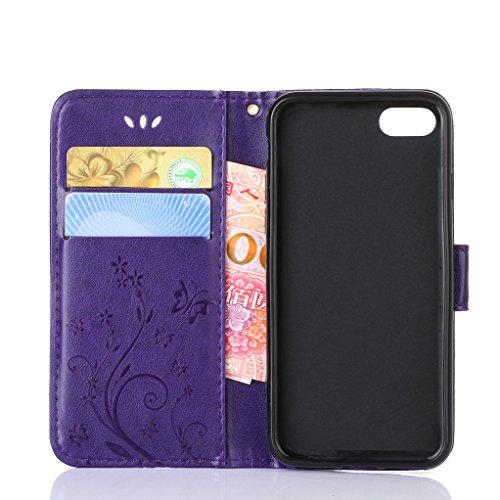 """Trumpshop Case Coque Housse Etui de Protection pour Apple iPhone 6/6s Plus 5.5"""" + Noir + Ultra Mince Portefeuille PU Cuir Avec Fonction Support Anti-Choc Anti-Rayures Violet"""
