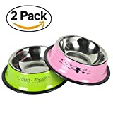 Stainless Steel Dog Bowls, Food Grade Safety Pet Food Water Bowl with Anti-skid Rubber Base Dog Dishes for Small Dogs Cats(Set of 2)