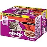 Whiskas Katzenfutter 1+ für erwachsene Katzen - saftige Fleisch-Auswahl in Sauce / 48 Portionsbeutel (2 x 24 x 100 g)