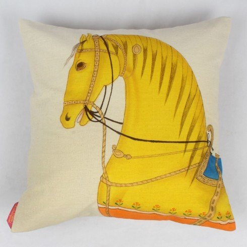 Jtartstore Yellow Horse Hand Painted Organic Cotton Cushion Cover 18 x 18 inches