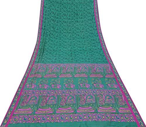 Teal Saree (Vintage 100% Seide Saree mit Blumenmuster Craft Fabric Deco Teal Grün Sari 5 Yd)