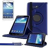 Funda Galaxy Tab 3 Lite 7.0 , SAVFY® - Giratoria 360 grados Stand PU Funda Flip Set para Samsung Galaxy Tab 3 Lite 7.0 SM-T110 + Paño de Limpieza + Protector de la Pantalla + Lápiz Optico (Azul)
