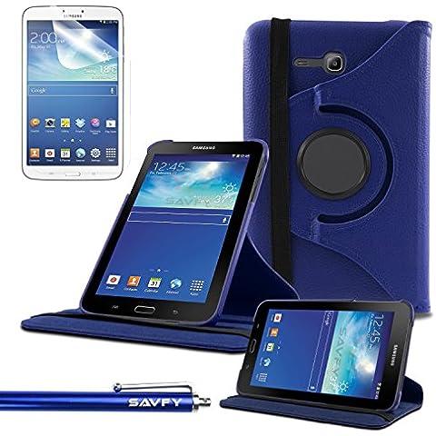Funda Galaxy Tab 3 Lite 7.0 , SAVFY® - Giratoria 360 grados Stand PU Funda Flip Set para Samsung Galaxy Tab 3 Lite 7.0 SM-T110 + Paño de Limpieza + Protector de la Pantalla + Lápiz Optico