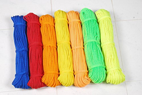 7 Star Nylon Plastic Laundry Clothesline or Rope Wire,15m (BPP-0073, Multicolour) – Set of 3