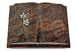 MEMORUM Grabmale Grabbuch, Grabplatte, Grabstein, Grabkissen, Urnengrabstein, Liegegrabstein Modell Livre Pagina 40 x 30 x 8-9 cm Aruba-Granit, Poliert inkl. Gravur (Bronze-Color-Ornament Rose 4)
