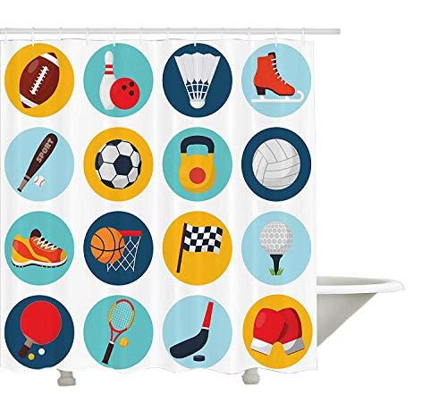Yeuss Tenda da Doccia Sportiva, Modello Sportivo con Palline da Ping-Pong Pallina da Tennis da Ping Pong,Stampa Scarpe da Pattinaggio,Bagno Decorato in Tessuto con Ganci,Multicolore