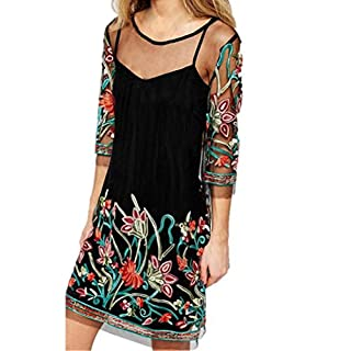 Amlaiworld Women Dresses ,Sexy Womens Boho Vintage Lace Mesh Sheer Embroidered Floral Party Mini Dress (M, Black)