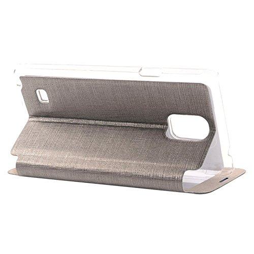 wkae Schutzhülle Fall & Cover Kreuz Textur horizontale Flip Leder Case mit Call Display ID für Samsung Galaxy Note 4 grau