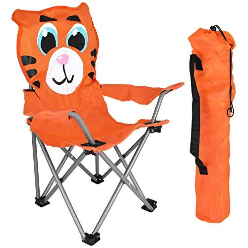 TW24 Kinderklappstuhl mit Farbwahl Campingstuhl Kinder Klappstuhl Faltstuhl Strandstuhl faltbar (Orange)