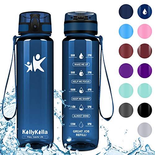 KollyKolla Trinkflasche - BPA-frei Auslaufsicher Sport Wasserflasche, 1L Tritan Sportflasche Kohlensäure Geeignet Kunststoff mit Filter für Kinder, Schule, Baby, Fahrrad, Gym, Büro, Glossy Marine