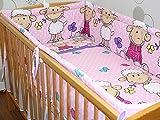 Nestchen Bettumrandung Kopfschutz Für Baby Kind - Schaf rosa/violet - 190cm, 360 cm, 420cm für Bett 70x140 cm, 60x120cm 420 cm