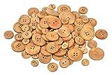 VBS Großhandelspackung 100g Holzknöpfe zum Nähen Handarbeit in 4 Größen Natur