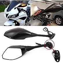 Par Espejos Retrovisor LED Gire Indicador de señal integrado Motocicleta Intermitentes Para Bicicleta deportiva Honda CBR600RR 2003-2011 CBR1000RR 2004-2007 (Negro liso+Lente de humo)