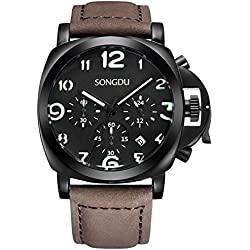 SONGDU Men's Quartz Chronograph Date Watch with Luminous Black Dial and Leather Strap