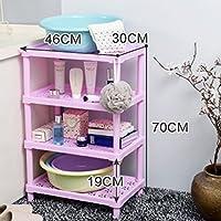 LUYIASI- Plastik Platzierung Regal Badezimmer Lagerregale 4 Tier Regale Indoor Ecke Organizer Für WC Küche Badezimmer Shampoo Kosmetik Bathroom Racks (Farbe : Pink)