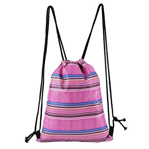 TIFIY 3D Unisex Damen Herren Besondere Muster Kordelzug Rucksack (L_Pink) (Reißverschluss Großes Hauptfach)