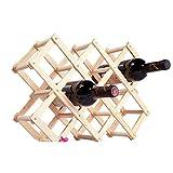 HUPLUE UVA bottiglia di vino rosso cremagliera pieghevole pieghevole in legno di pino vino Leaning angolo mensola organizzatore Holder, Wooden, 10 bottles