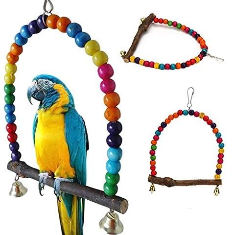 Oiseaux Jouet Perroquet Oiseau en bois Balançoire Toys Cage Suspendre pour Parakeet Cockatiel Inséparable Budgie (longueur 15cm, A)
