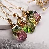 natürliche Fluorit Kristall Halskette Anhänger mit Kette Ombre rohen Quarz Edelstein unregelmäßigen Heilstein Reiki Schutzamulett für Frauen