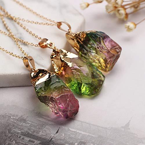 Preisvergleich Produktbild natürliche Fluorit Kristall Halskette Anhänger mit Kette Ombre rohen Quarz Edelstein unregelmäßigen Heilstein Reiki Schutzamulett für Frauen