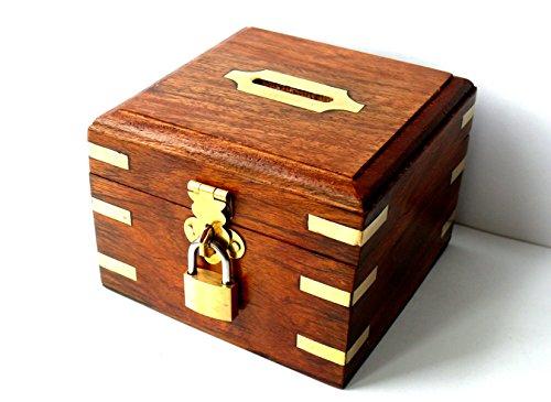 Spardose Safe, Bank Cash Backform Stauraum Truhe, per Hand geschnitzt, quadratisch