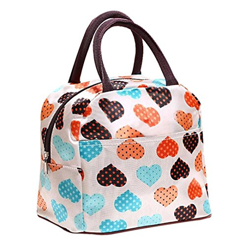 Clearance!!! Warm Heart Print Portable insulated Picnic Lunch Bag Tote Zipper Organizer Lunch Box