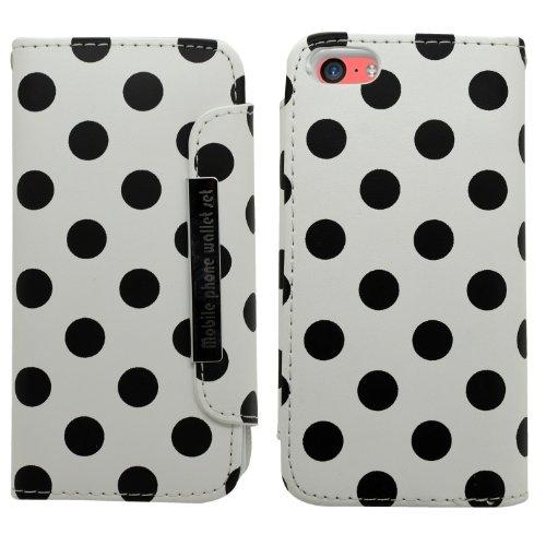 in-1 Polka Dots Weiches Leder Buch Brieftasche für Apple iPhone 5C mit Kreditkarte Halter/Handschlaufe, Schirm Schutz/Microfasertuch, Aluminium Kugelschreiber weiß/schwarz ()