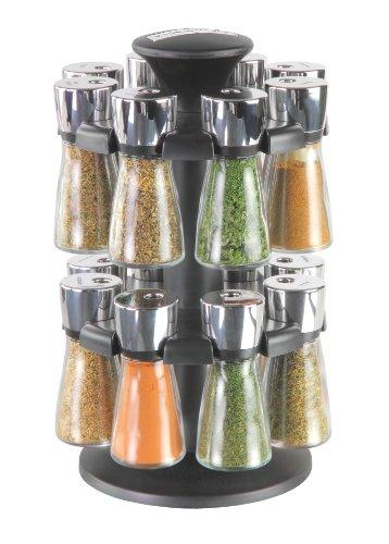 Cole & Mason H100659 Hudson Karussell mit 16 gefüllten Kräuter- und Gewürz-Gläsern