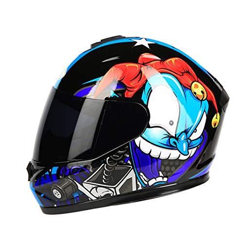 Mdsfe Motorradhelm Klapphelm mit interner Sonnenblende Doppelscheibe Modularer Motocross Integralhelm Buntes Gesicht L