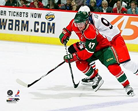 Marc-Andre Bergeron #47 of the Minnesota Wild skates with the