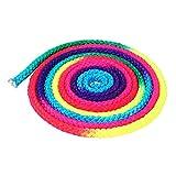 Leezo - Corda da Ginnastica Ritmica, Colore Arcobaleno, per Gare e Allenamento, per Bambini e Adulti