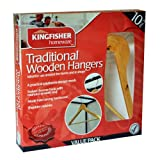 Kingfisher Wooden Clothes Coat Hangers, Brown, Pack of 10
