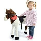Caballo de juego Pink Papaya Jasper, Caballo para niños 75 cm Caballo de peluche, caballo de juguete de alta calidad para sentarse, con distintos sonidos, un cepillo pequeño incluido