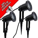 3x LED Erdspießleuchte Gartenstrahler Gartenspot schwarz 2,5m Kabel incl. LED 5 Watt