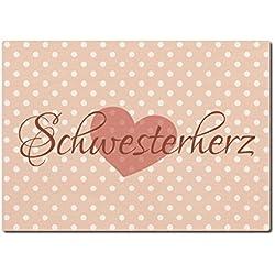 LUXECARDS POSTKARTE aus Holz SCHWESTERHERZ Geburtstag Geschenk Familie Schwester
