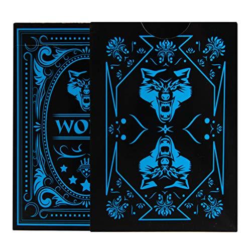 Meatyhjk Wolf - Juego de cartas de póquer (PVC, impermeable), diseño de lobo