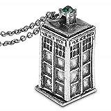 Legisdream Collana con Ciondolo Cabina Polizia da Doctor Who Colore Argento Gioiello Idea Regalo Festa Amore Amicizia