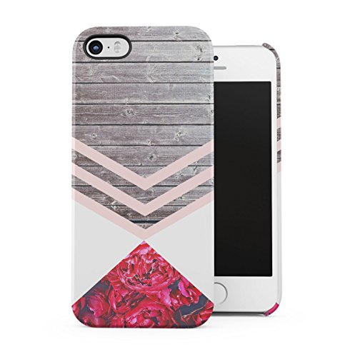 Marble Stone Camomile Floral Daisies Chevron Apple iPhone 5 , iPhone 5S , iPhone SE Snap-On Hard Plastic Protective Shell Case Cover Custodia Pink Chevron
