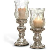 Loberon Kerzenständer 2er Set Luisant, Windlicht, Dekoration, Glas, H/Ø ca. 35/12 cm, klar/Silber