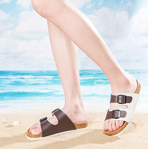 Sandali Unisex - Adulto, Con Cinghie A Doppia Fibbia, Sandali Con Cinturino Alla Caviglia, Scarpe Estive Di Sughero Marrone Bianco