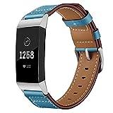 BZLine Armband Für Fitbit Charge 3 Gesundheits und Fitness-Tracker Luxus Leder Ersatz Leder Armband Uhrenarmband   Bandlänge: 193mm   Klassisch und modisch   Damen Herren   4 Farben