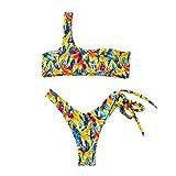 Igemy Frauen Sexy Split Badeanzug, Damen Bikini Bademode Schnalle Tiere Drucken Bikini Hochdrücken Gepolstert Baden Badeanzug Einzelner Schultergurt BH Strandkleidung