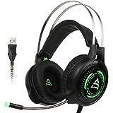 2017 SUPSOO G815 PC Gaming auricular recién actualizado USB Surround estéreo cableado sobre auriculares de juego de oído con micrófono revolución control de volumen cancelación de ruido LED de luz para PC y Mac