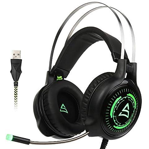 Casque de jeu Supsoo SU815 Casque d'écoute casque stéréo pour ordinateur avec microphone Contrôle de volume de microphone Contrôle de volume Lumière LED pour PC et MAC (noir et