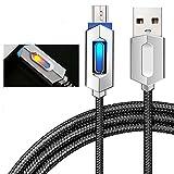 Pawaca Intelligentes USB-Ladekabel, 1M/3.2FT Micro Nylon Geflochten Syn Auto-Trennung Ladegerät Kabel mit LED-Anzeige für MacBook, Google Pixel, Nexus, Samsung Galaxy(Schwarz)