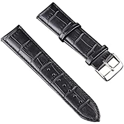 Replacement Genuine Leather Bands for LG LGW110 G Watch R Smartwatch (Black)